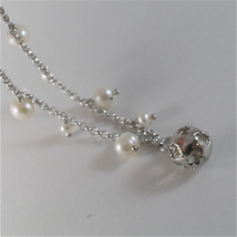 925 RODIUM SILVER BRACELET WITH WHITE FW PEARLS & BALL WITH ANGEL, MADE IN ITALY image 3