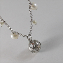 925 RODIUM SILVER BRACELET WITH WHITE FW PEARLS & BALL WITH ANGEL, MADE IN ITALY image 4