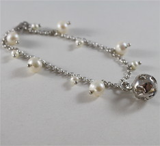 925 RODIUM SILVER BRACELET WITH WHITE FW PEARLS & BALL WITH ANGEL, MADE IN ITALY image 5