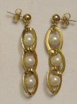RETRO VINTAGE 1990s BOLD GOLD Tone Beaded Chain Style Pierced DANGLE EAR... - $17.77