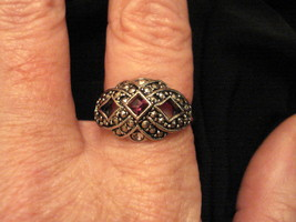 EUC - VINTAGE STATEMENT RING Silver Tone Faux Marcasite February Birthstone - $19.75
