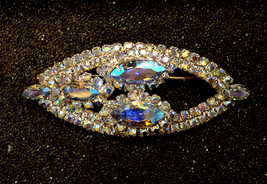 JAYKEL Original Mid Century Vintage BLUE Aurora Borealis Prong Set RHINE... - $24.70