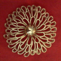 VINTAGE Crown Trifari Statement Brooch Filigree Flower Pin Bold Gold Est... - $39.55