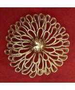 VINTAGE Crown Trifari Statement Brooch Filigree Flower Pin Bold Gold Est... - $39.55