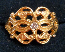 NOS 1970s VINTAGE Glistening Touch Rhinestone Filigree RING size 5 Origi... - $24.70