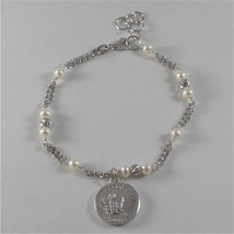 925 RODIUM SILVER BRACELET WITH WHITE FW PEARLS, CRYSTAL AND ANGEL MADE IN ITALY