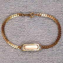 NEW without Box ID Bracelet Gleaming Gold Tone Engravable with Herringbone Chain - $14.80