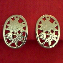 Vintage Clip On Earrings Delicate Oval Floral Etched Gold Tone - $12.82