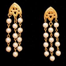 True Vtg Pearly Shower Dangle Pierced Earrings Hypo Allergenic Studs  - $19.75