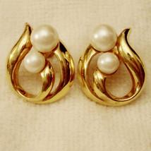 ✿ Vintage 1990s Modern Classic Pierced Earrings Faux Pearl Hypo Allergen... - $19.75
