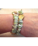 2 Stretch Bracelet Lot MOTHER of PEARL & CHUNKY Spring Pastel Green Chip... - $9.84