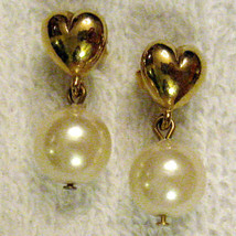 True Vintage 90's Gold Plated Heart & Pearly Drop Earrings Hypo Allergenic Posts - $17.77