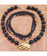 Lot 1980s Vintage Azure Collection Blue Bead Necklace & Gold Plated Moti... - $24.70