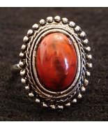 Large BLOOD ORANGE Type Stone COCKTAIL RING Silver Tone Costume Jewelry adjusts - $19.75