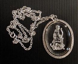 GODDESS DIANA Archer Huntress DOG Vintage Reverse Etched Glass PENDANT N... - $34.60