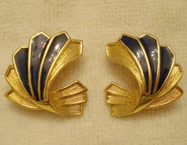 VINTAGE Wing Shape Clip On EARRINGS Faux Lapis Fan approx 1 inch Gold Tone - $14.80