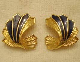 Vintage Wing Shape Clip On Earrings Faux Lapis Fan Approx 1 Inch Gold Tone - $14.80