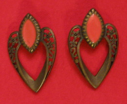 HTF Signed VAL Earrings Filigree with Orange Pierced by VAL Casting Company - $19.75