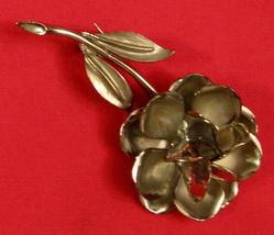 Vintage Silver Tone Floral Pin Brooch   2 3/4 Inch Un Signed - $14.80