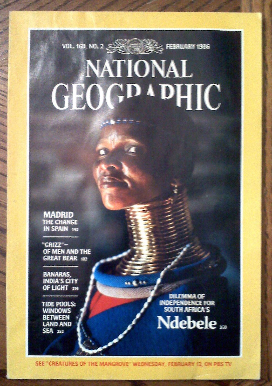 Feb 1986 NATIONAL GEOGRAPHIC Magazine MADRID GRIZZLY BEARS BANARAS NDEBELE - $8.85