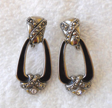 ✿ 1980s Vtg Door Knocker Dangle Earrings Faux Marcasite & Rhinestone Pie... - $14.80