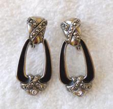 ✿ 1980s Vtg Door Knocker Dangle Earrings Faux Marcasite & Rhinestone Pierced - $14.80