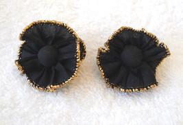 ✿ Vintage 80s Black Fabric Ruffle Pierced Earrings with Gold Metallic Tr... - $9.84