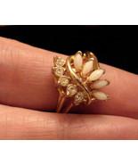 UNCAS size 8 GOLD Tone OPAL & RHINESTONE SPRAY COCKTAIL RING U w/ arrow ... - $29.65
