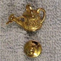 1980s Vintage Gold Plated Tack Pin Watering Can Gardening Hobby Irridescent Drop - $9.84