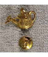 1980s Vintage Gold Plated Tack Pin Watering Can Gardening Hobby Irridesc... - $9.84