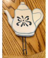 "Blue & White Painted Coffee / Tea Pot Wood Wall Plaque with Hook 8"" Wood... - $12.82"