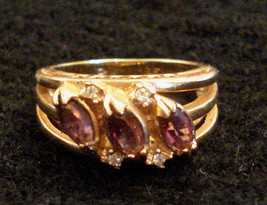 Faux AMETHYST Marquise RHINESTONE COCKTAIL RING 18K HGE sz 5 Gold Plated - $17.77