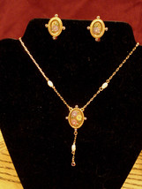 New in Box Vintage Flower Button Clip Earrings & Y Dangle Necklace Nickel Free - $19.75