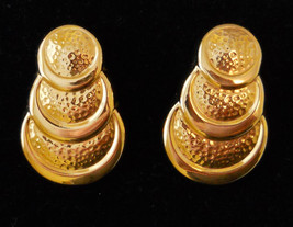 True Vintage 1990s Retro Runway Pierced Earrings Bold Gold Tone Circular Design - $17.77