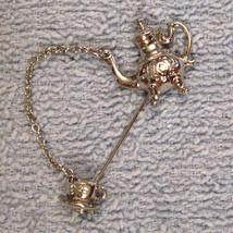 1980's VINTAGE Stick Pin - Silver Tone Colonial Tea Pot & Cup Chantelaine Chain - $17.77