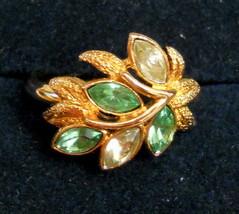 Vintage Cocktail Ring size Medium 6/7 Gold Plated Green Leaf Navette Rhi... - $19.78