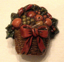 VINTAGE Hallmark Cards Inc Brown Plastic Holiday Fruit Basket Collector Pin - $9.84