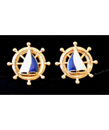 1990's Vintage SHIPS AHOY EARRINGS Sailboat Nautical Theme CLIP ONS - $17.77