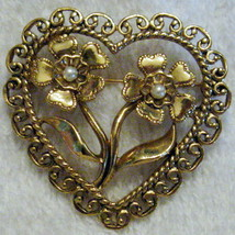1990's Retro Vintage Antique Look Floral Heart Pin Brooch   1 1/2 Inch Gold Tone - $12.82