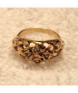 NICE BASKET WEAVE RING with RHINESTONES Antiqued Gold Tone approx size 8... - $19.75