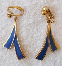 True Vintage 1990s Blue Brush Stroke Style Clip On Dangle Earrings Nickel Free - $17.77