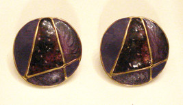 Vintage Purple Enamel METAL BUTTON EARRINGS Letter A or number 4 design,... - $8.85