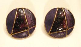 Vintage Purple Enamel METAL BUTTON EARRINGS Letter A or number 4 design, no mark - $8.85
