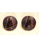 Vintage Purple Enamel METAL BUTTON EARRINGS Letter A or number 4 design,... - $8.85