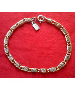Signed EMMONS Hang Tag Gold Tone BRACELET 7.5 inch Swirled Links w/ C Clasp - $14.80