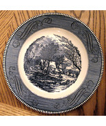 "VINTAGE ROYAL CHINA Blue & White CURRIER & IVES 10"" Old Grist Mill DINNE... - $17.77"