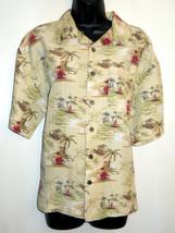 Joe Marlin Mens Button Front Shirt size XL Hawaiian Print Palm Tree Sail... - $29.65