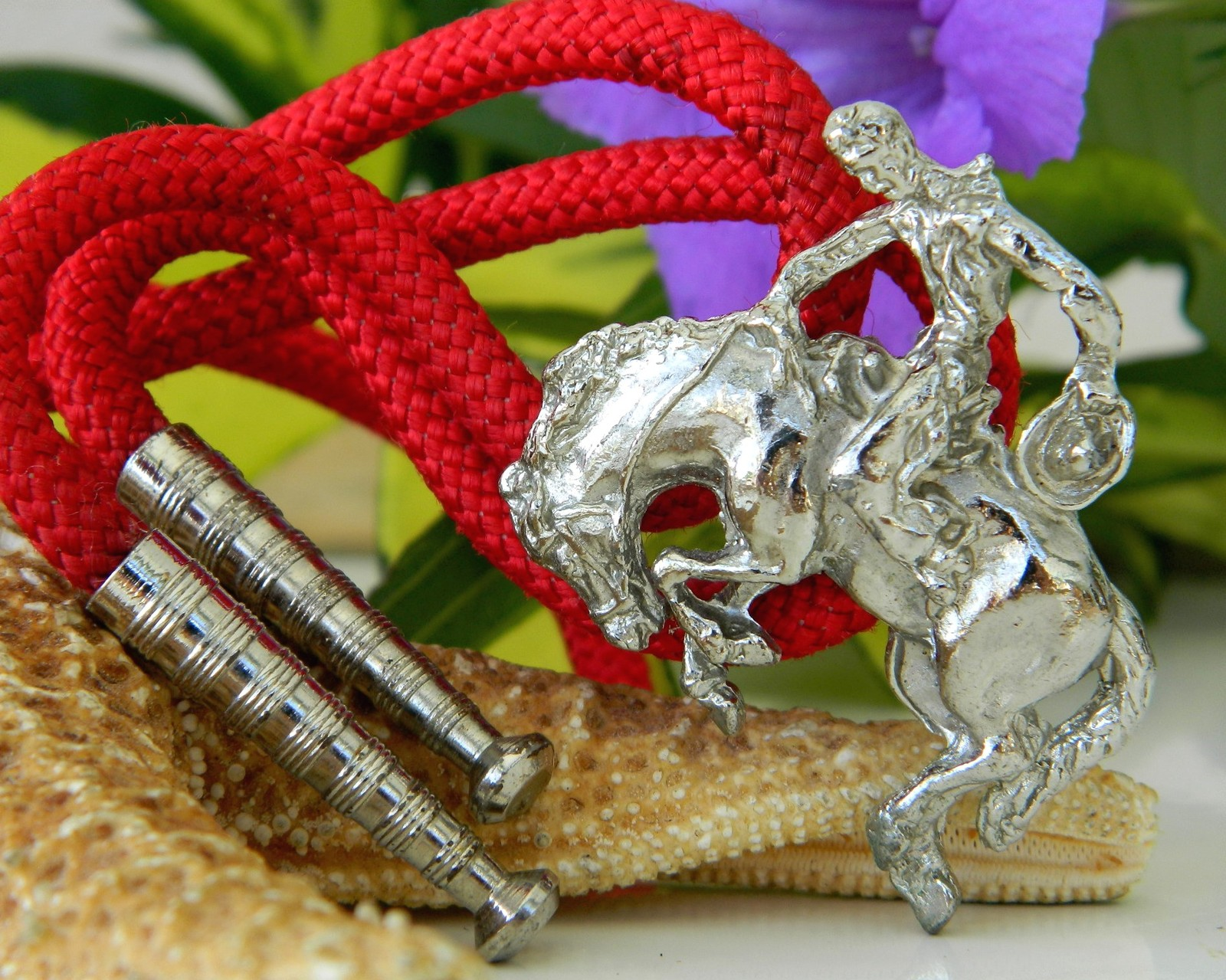 Primary image for Vintage Bolo Tie Rodeo Cowboy Bucking Bronco Horse Silver Tone Red