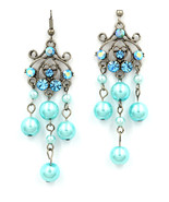 Beautiful Aqua Swarovski crystal chandelier dangle pierced earrings - $22.00
