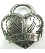 Love Locked Heart Belt Buckle Etched Embossed Distressed Silvertone Metal - $15.81